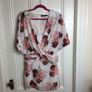 NWOT Ark & Co floral ruched mini dress pink v neck